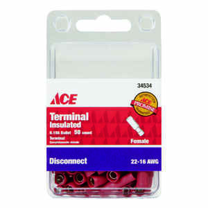 Ace  Insulated Wire  Female Disconnect  Red  50 pk