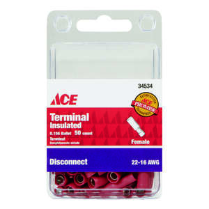 Ace  Insulated Wire  50 pk Female Disconnect