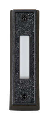 Carlon Black/White Metal/Plastic Wired Pushbutton Doorbell