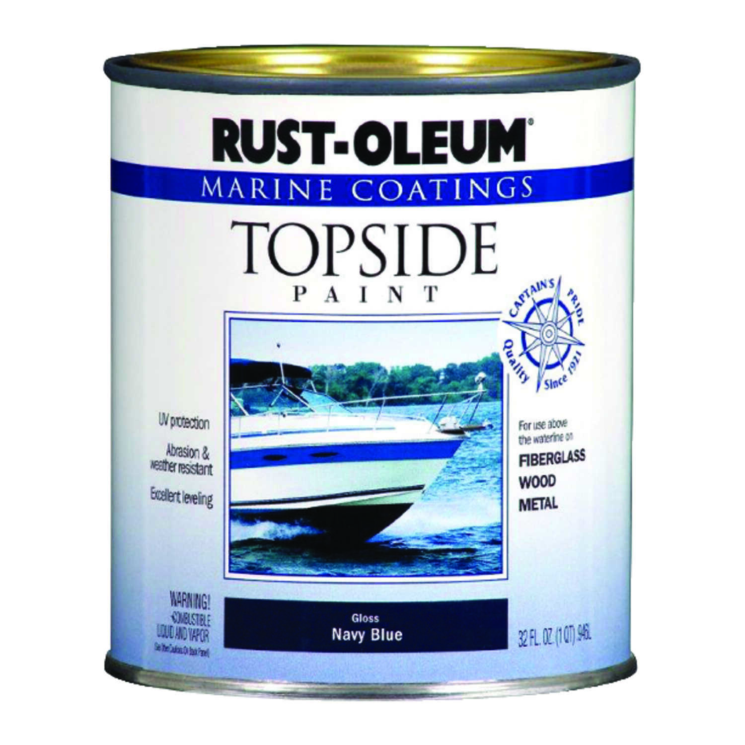 Rust-Oleum  Outdoor  Gloss  Navy Blue  Marine Topside Paint  1 qt.
