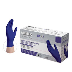 Ammex Professional Nitrile Disposable Exam Gloves Medium Indigo Powder Free 100 pk