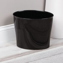 InterDesign  Nuvo  Black  Oval  Wastebasket