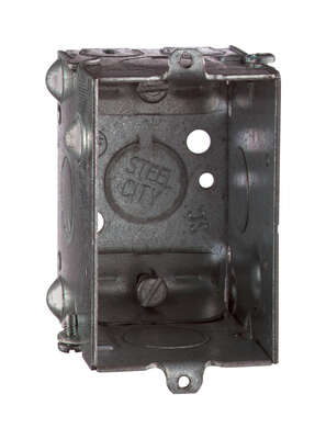 Steel City  3 in. Galvanized Steel  1 gang Rectangle  Silver  Switch Box