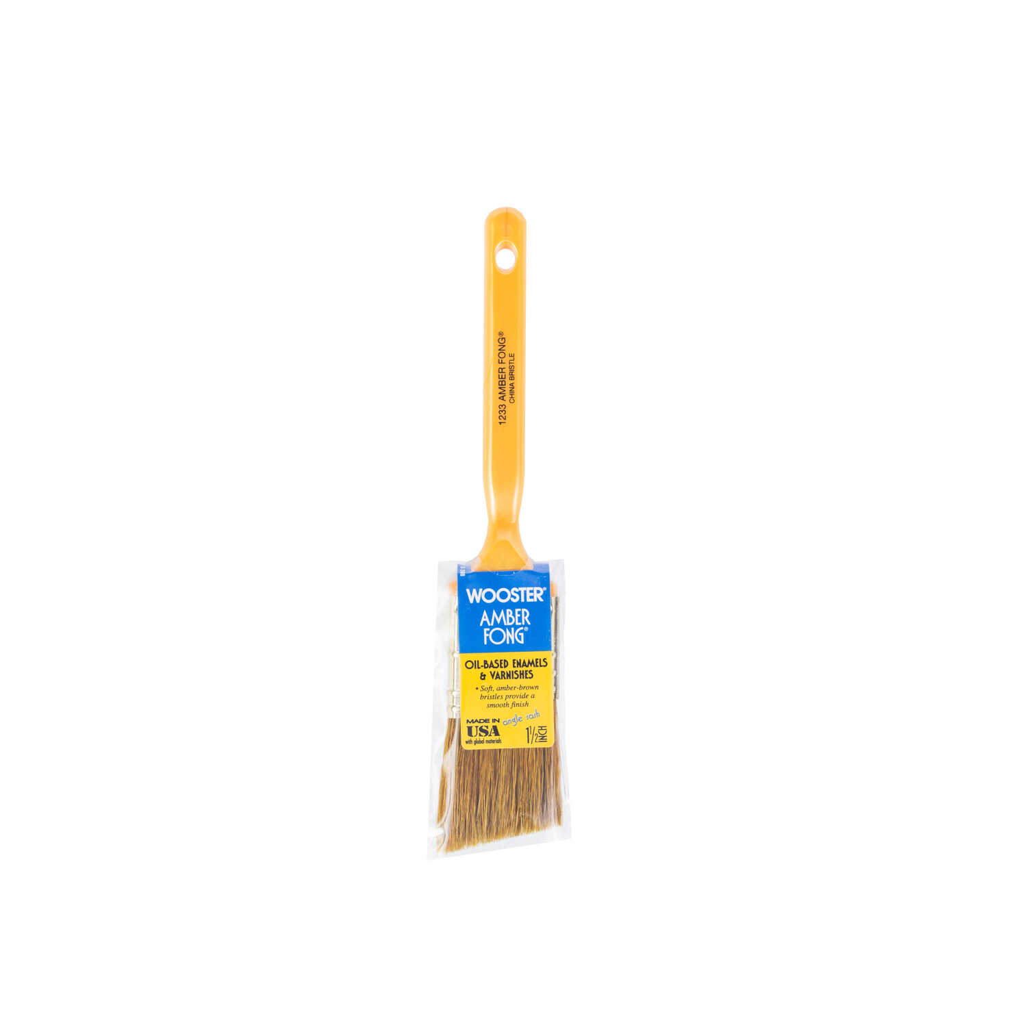 Wooster  Amber Fong  1 1/2 in. W Angle  Brown China Bristle  Paint Brush
