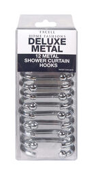 Excell  Silver  Silver  Metal  Deluxe  Shower Curtain Rings  12 pk