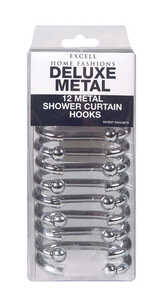 Excell  Silver  Silver  Metal  Shower Curtain Rings  Deluxe  12 pk