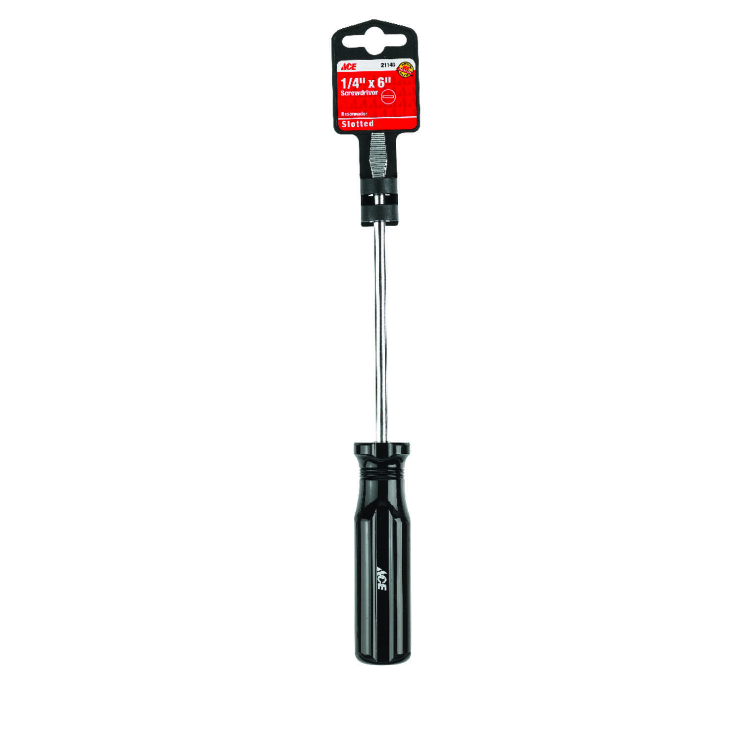 Ace  6 in. Slotted  1/4  Screwdriver  Steel  Black  1 pc.