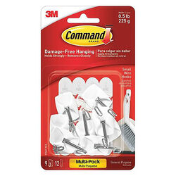 3M  Command  Small  Plastic  Wire Hooks  1-5/8 in. L 9 pk