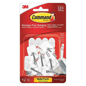 3M  Command  Small  Hook  1-5/8 in. L 9 pk Plastic