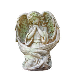 Alpine Polyresin 19 in. Guardian Angel Statuary