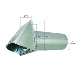 Ace  4 in. W x 4 in. L Galvanized  Silver  Steel  Dryer Vent