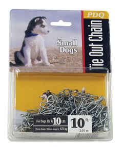 PDQ  Silver  Swivel  Steel  Dog  Tie Out Chain  Small