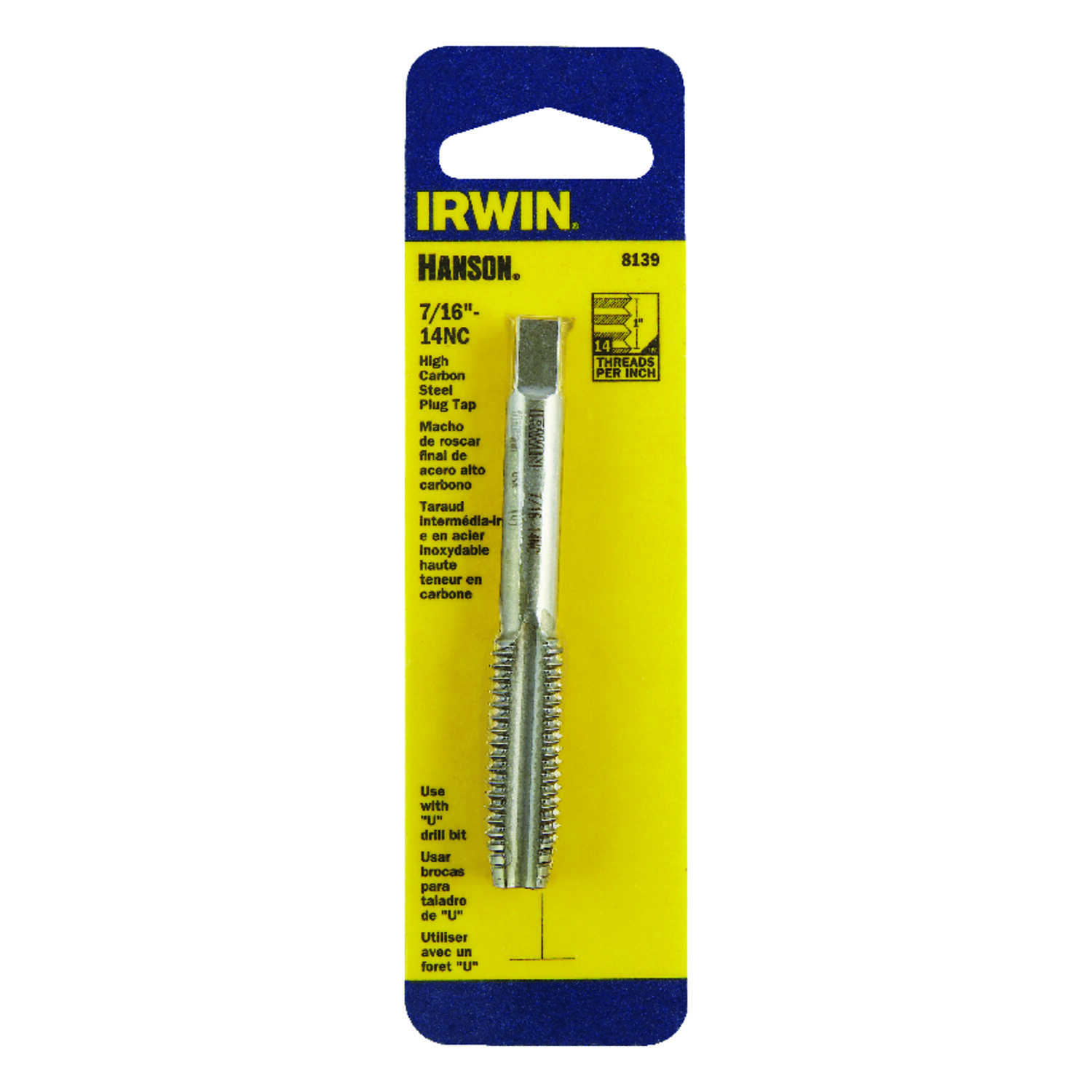 Irwin  Hanson  High Carbon Steel  SAE  Fraction Tap  7/16 in.-14NC  1 pc.