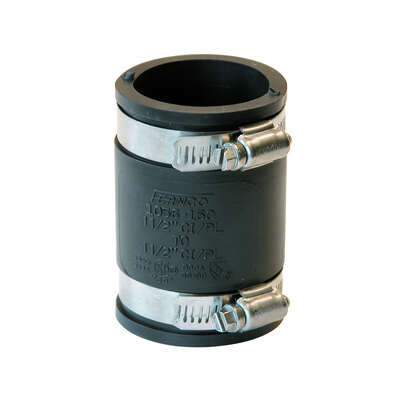 Fernco  Schedule 40  1-1/2 in. Hub   x 1-1/2 in. Dia. Hub  PVC  Flexible Coupling