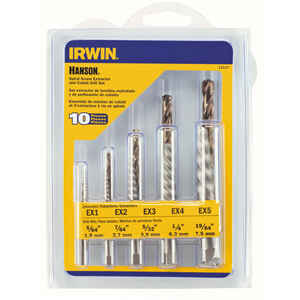 Irwin  Hanson  19/64 in.  Carbon Steel  Screw Extractor Kit  6 in. 10 pc.