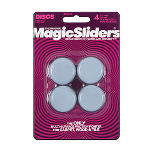 Magic Sliders  Plastic  Floor Slide  Round  1-1/2 in. W x 1 1/2 in. L 4 pk Self Adhesive Gray