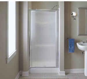 Vista Pivot  65.5 in. H x 31.25 in. W Silver  Natural  Framed  Shower Door