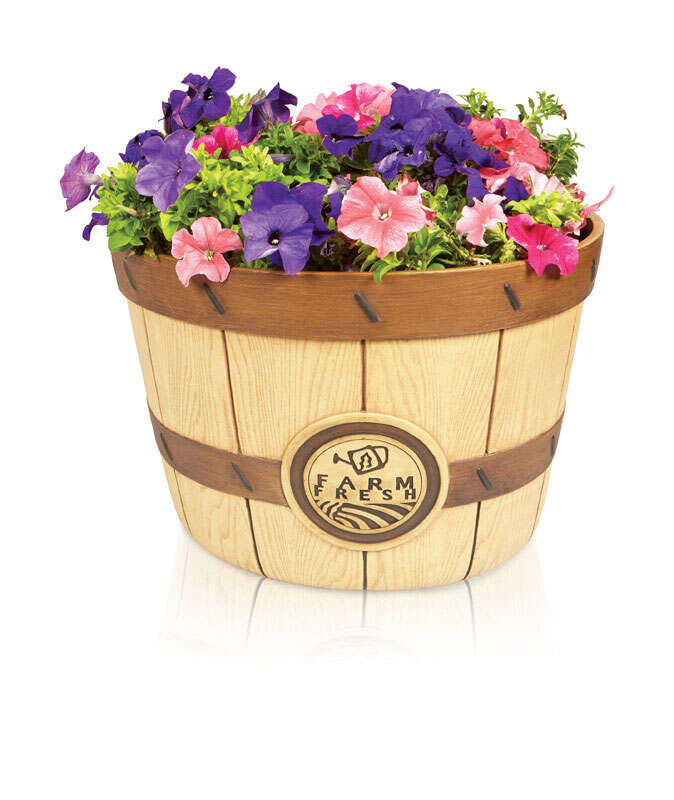Southern Patio  10.39 in. H x 16 in. W x 16 in. L Brown  Resin  Bushel  Planter