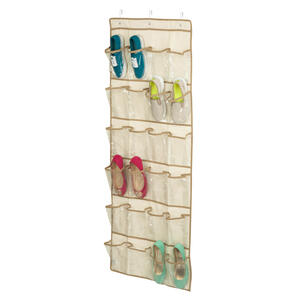 Honey Can Do  57 in. H x 21 in. W x 1-1/2 in. L Canvas  Over-the-Door Shoe Organizer