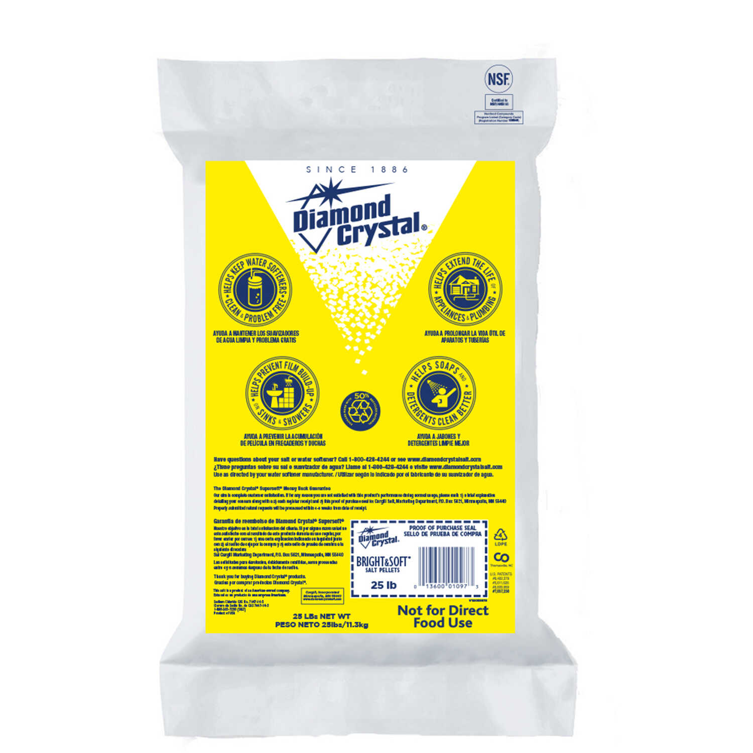 Diamond Crystal  Water Softener Salt  Pellets  25 lb.