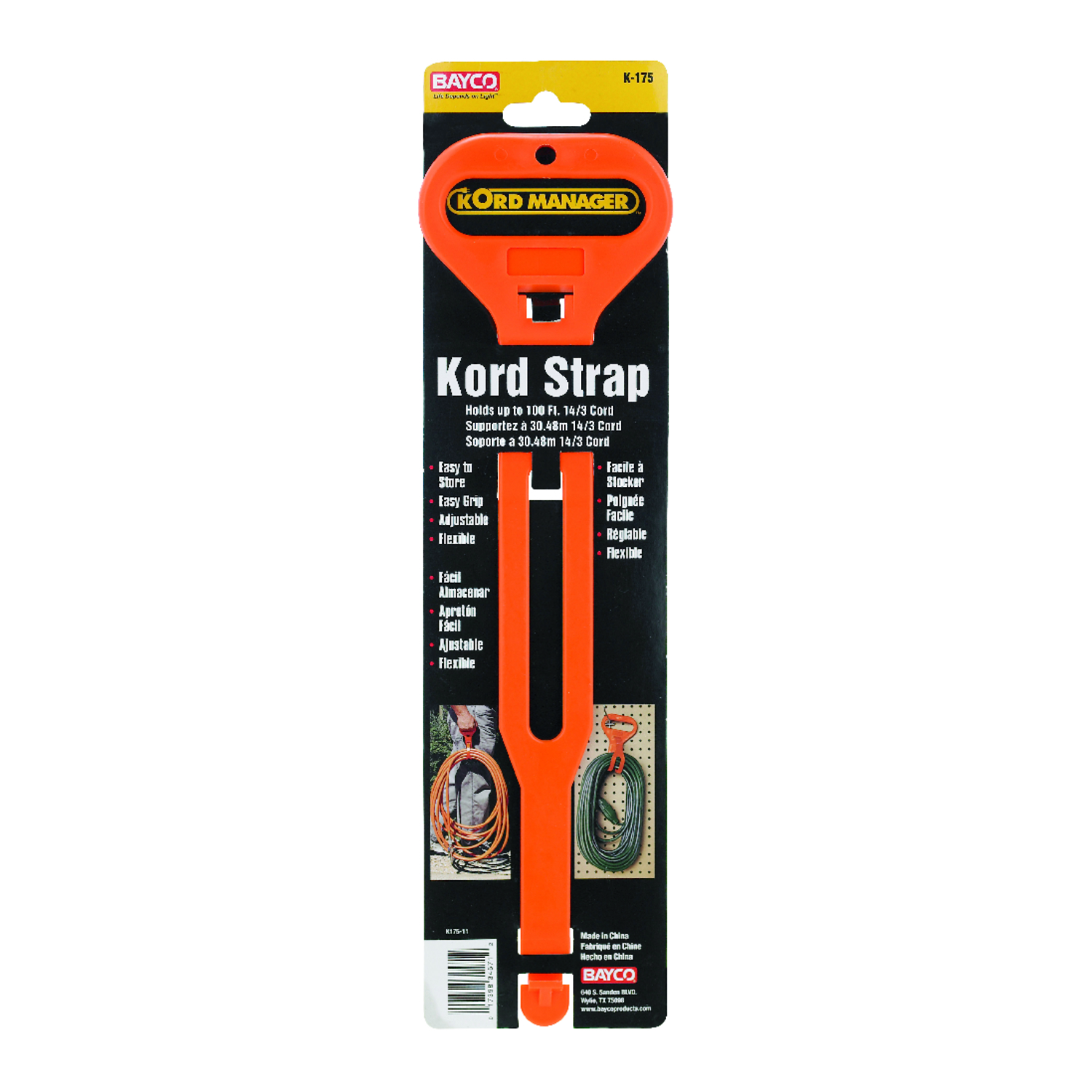 Bayco  14.3 in. L Short Carry Strap  Orange  Plastic