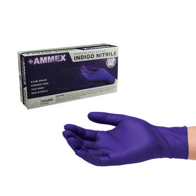 Ammex  Nitrile  Disposable Gloves  X-Large  Blue  Powder Free  100 pk
