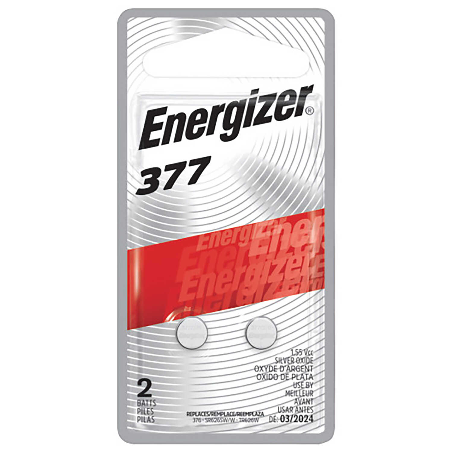 Energizer  Silver Oxide  377  1.5 volt Electronic/Watch Battery  2 pk