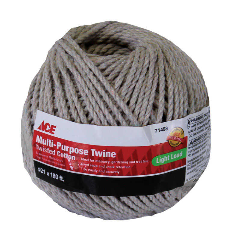 Ace  180 ft. L x 21 in. Dia. White  Twisted  Cotton  Twine