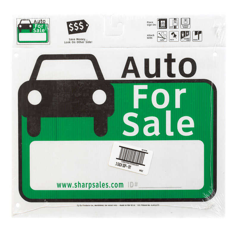 Hy-Ko  English  Auto for Sale  Sign  Plastic  12 in. H x 13 in. W