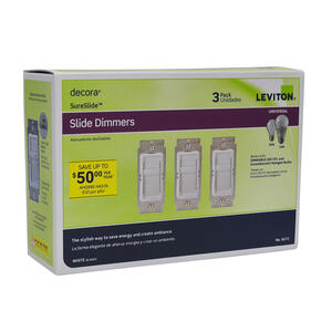 Leviton  Decora SureSlide  White  600 watts Slide  Dimmer