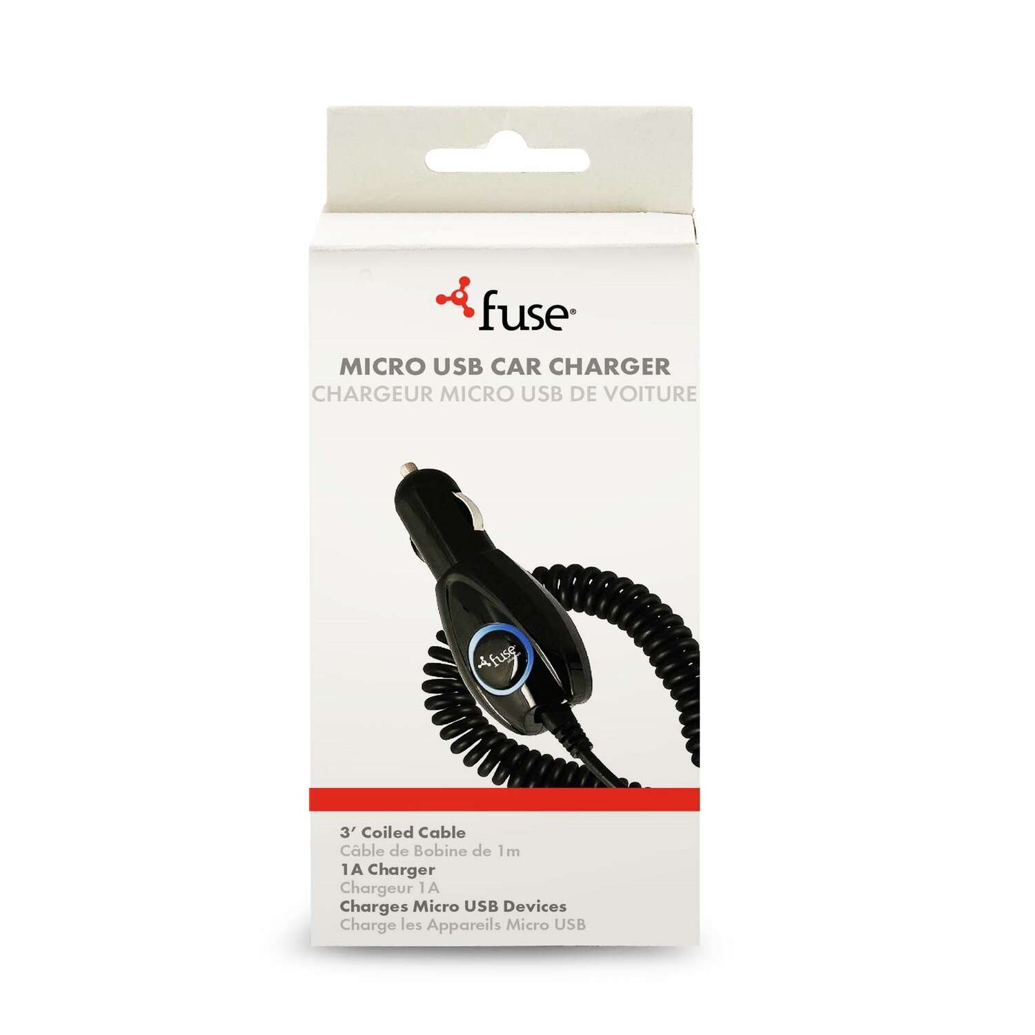 Fuse  3 ft. L USB Car Charger  1 pk