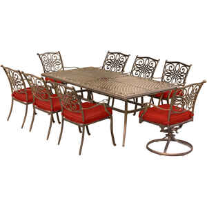 Hanover  9 pc. Bronze  Aluminum  Patio Set  Red