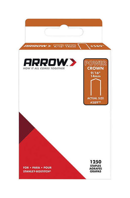 Arrow Fastener  #589  9/16 in. L x 3/8 in. W Galvanized Steel  Wide Crown  Standard Staples  18 Ga.