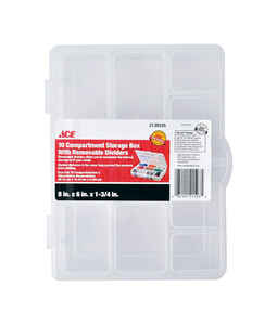 Ace  8 in. L x 6 in. W x 1-3/4 in. H Tool Storage Bin  Plastic  10 compartment Clear