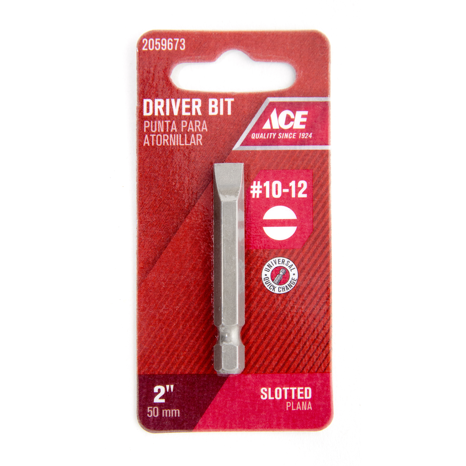 Ace  #10-12 in.  x 2 in. L S2 Tool Steel  1/4 in. Quick-Change Hex Shank  1 pc. Screwdriver Bit  Slo
