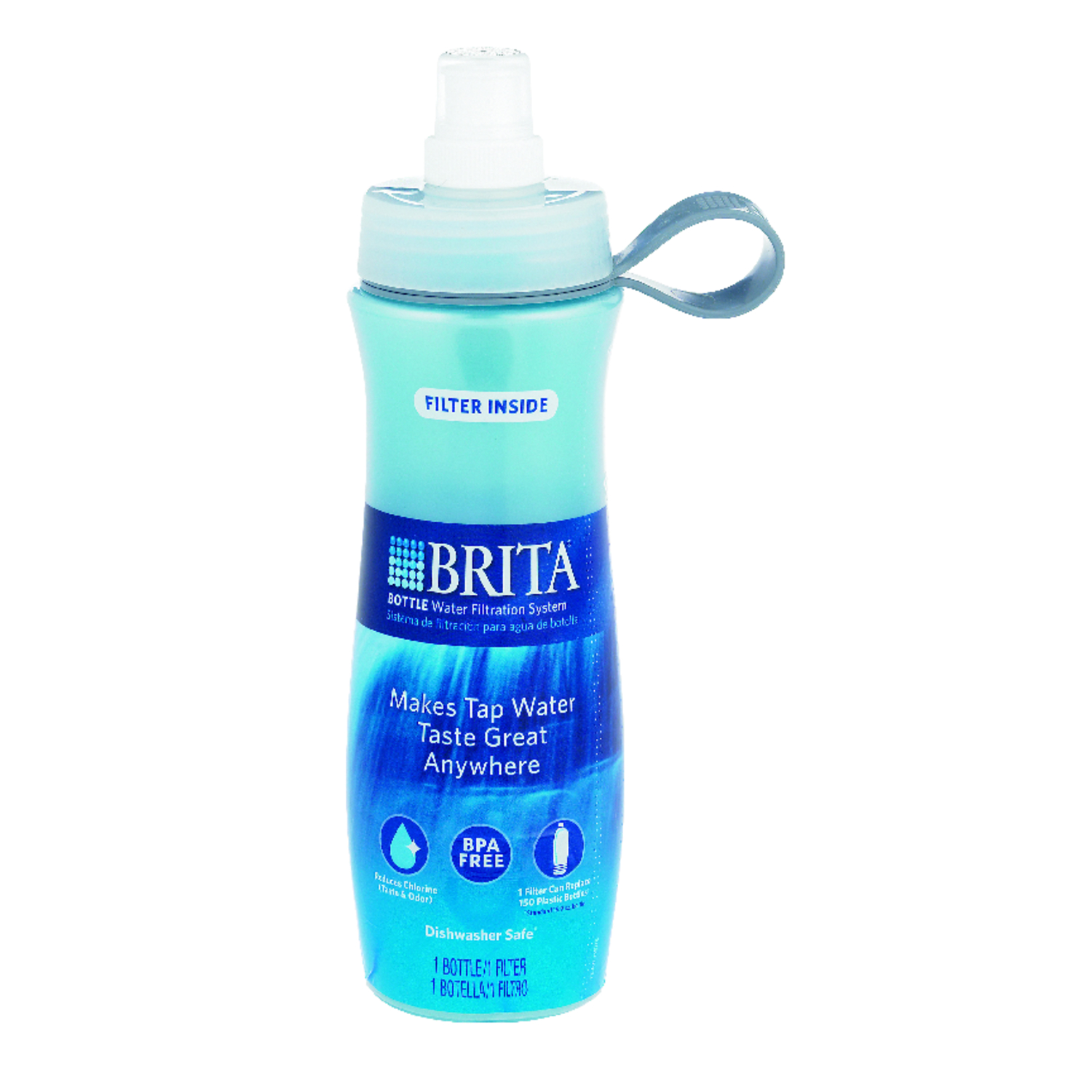 Brita  Blue  Plastic  Soft sided  Filtered Water Bottle  24 oz. BPA Free