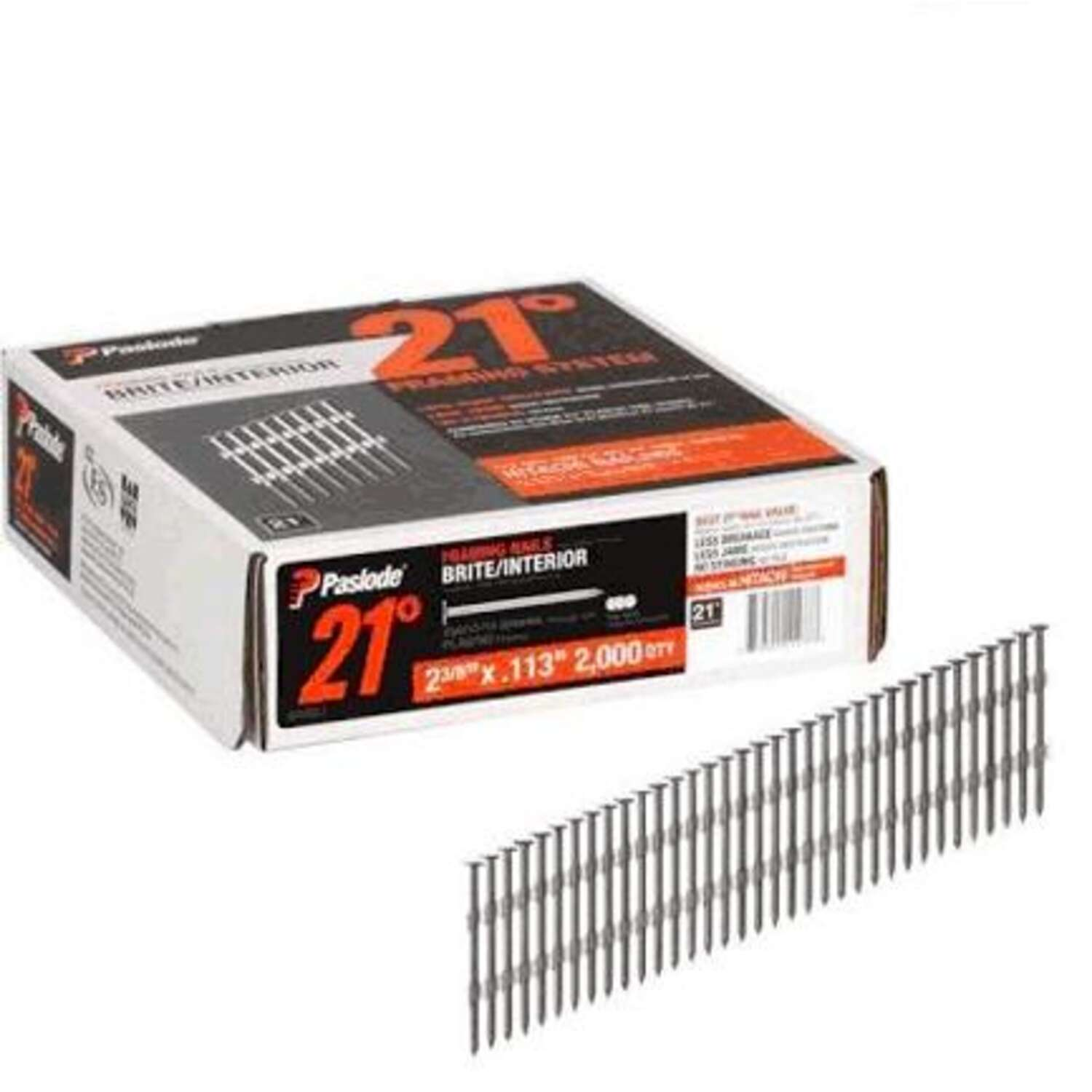 Paslode  2-3/8 in. 21 Ga. Angled Strip  Framing Nails  21 deg. Smooth Shank  2,000 pk