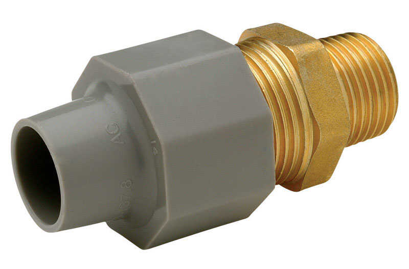 Zurn  Qest  3/4 in. CTS   x 1/2 in. Dia. MPT  Pex Coupling Adapter  Brass/Polyethylene