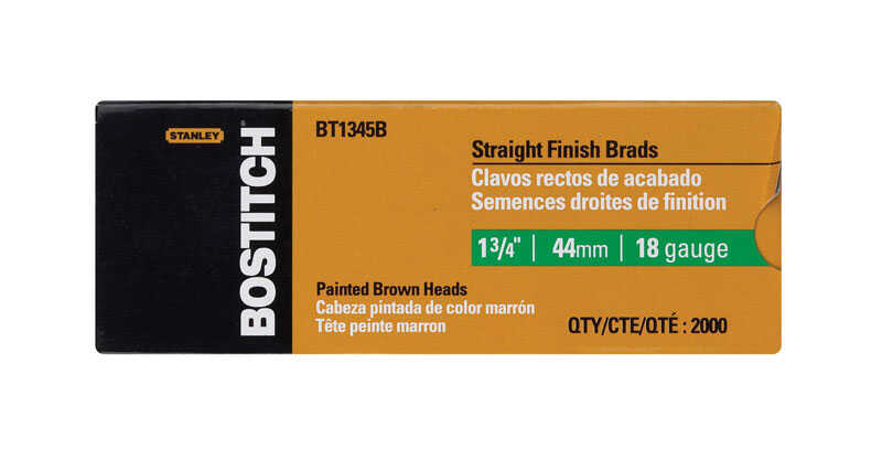 Bostitch  18 Ga. Smooth Shank  Straight Strip  Brad Nails  1-3/4 in. L x 0.1 in. Dia. 2000 pk