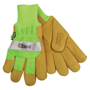Kinco  Men's  Outdoor  Pigskin Leather  Hi-Viz  Work Gloves  Green  L  1 pk