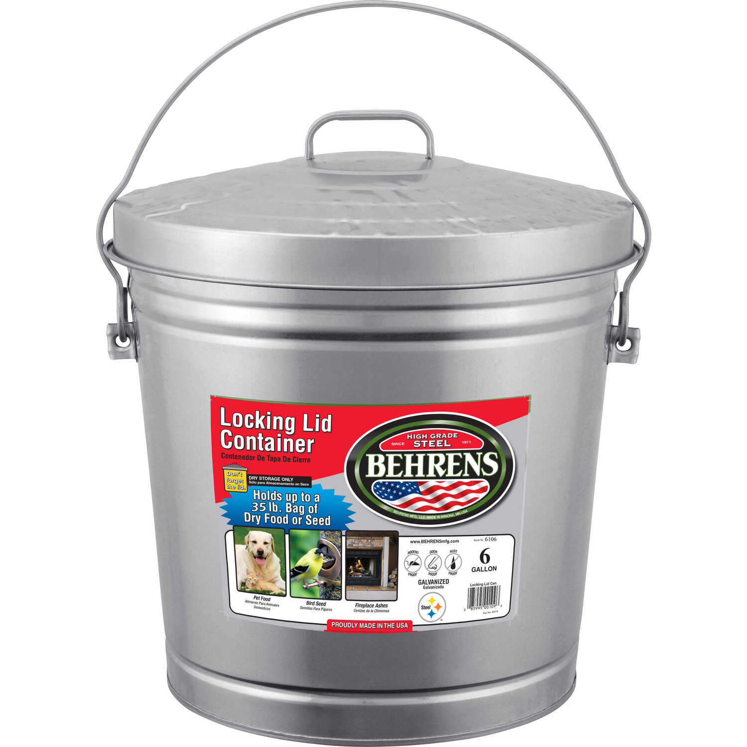 Behrens  6 gal. Galvanized Steel  Garbage Can  Animal Proof/Animal Resistant