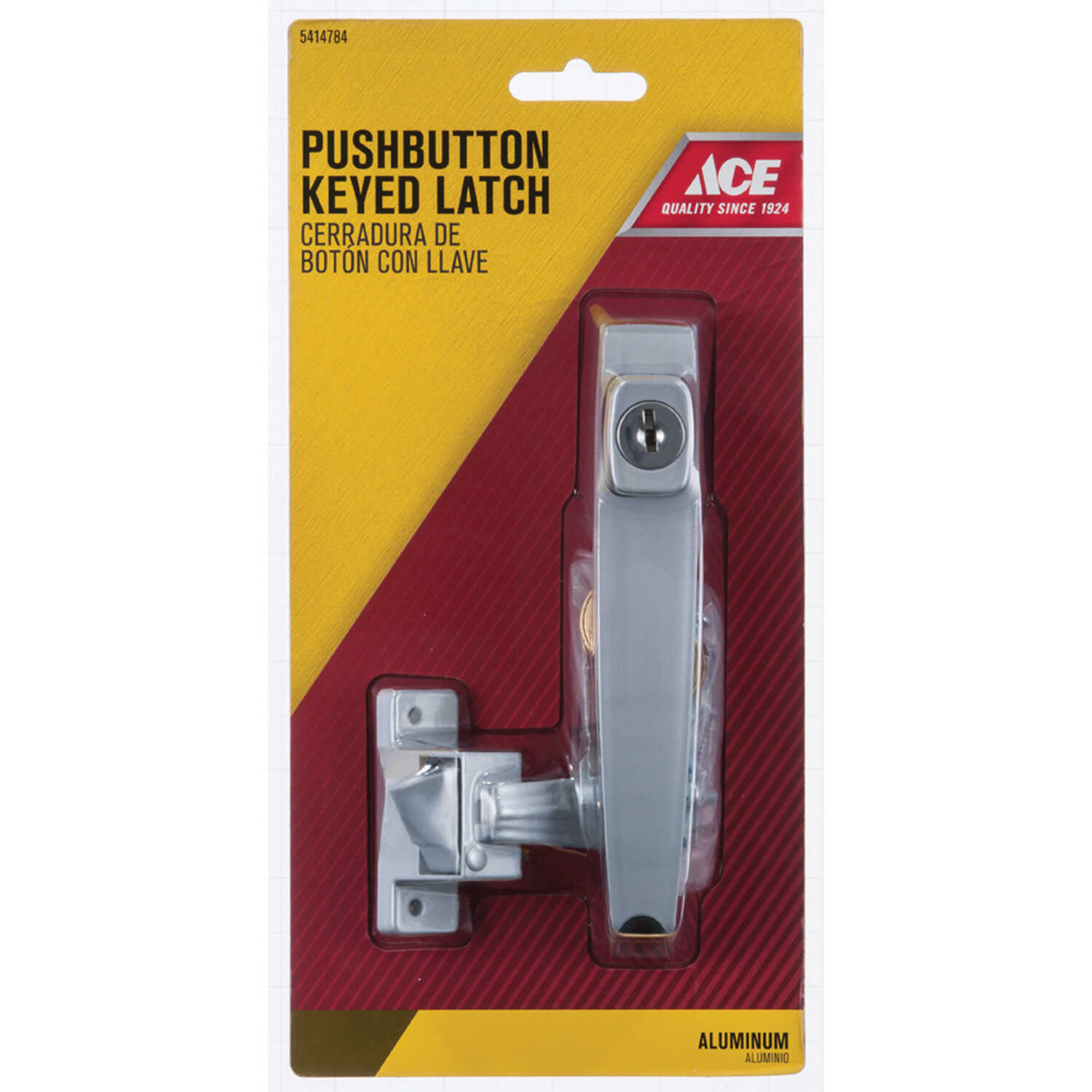 Ace  Aluminum  Silver  Steel  Push Button Keyed Latch  1 pk