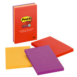 Post-It  4 in. W x 6 in. L Assorted  Sticky Notes  3 pad