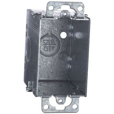 Steel City  3 in. Rectangle  Galvanized Steel  1 gang Switch Box  Silver