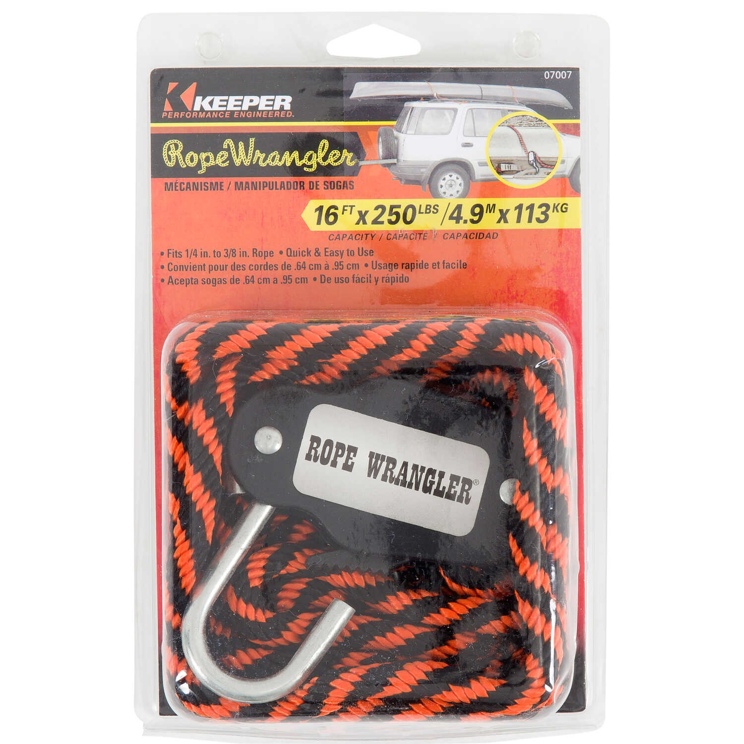 Keeper  Rope Wrangler  3/8 in. W x 16 ft. L Multicolored  Cargo Strap Assembly  250 lb. 1 pk
