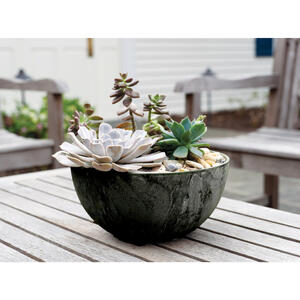 Novelty  Artstone  4.81 in. H x 9.84 in. Dia. Black  Resin/Stone Powder  Napa  Bowl Planter