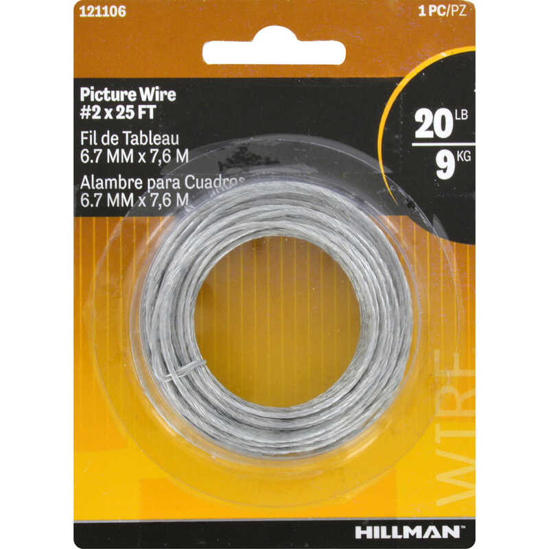 HILLMAN  AnchorWire  Steel-Plated  Steel  Picture Wire  20 lb. 10 pk Braided