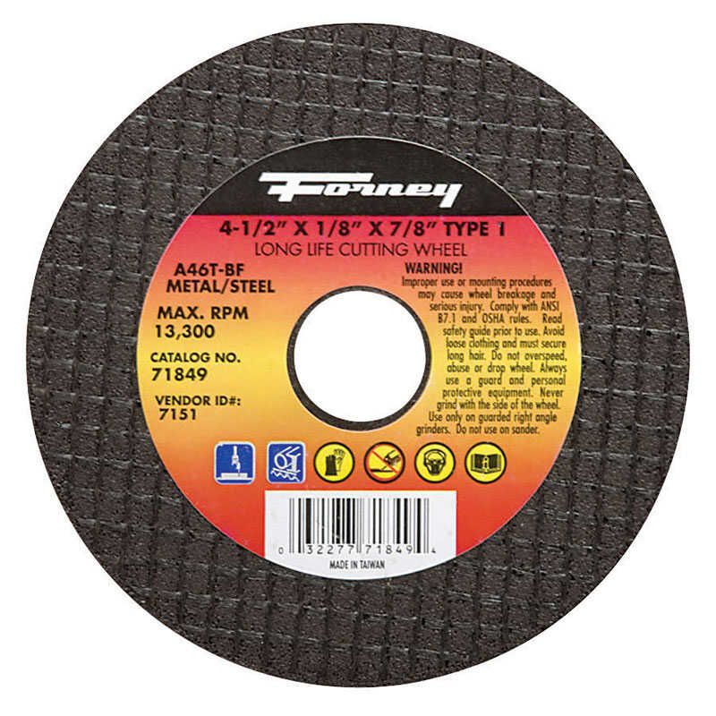Forney  4-1/2 in. Aluminum Oxide  Metal Cut-Off Wheel  1/8 in. thick  x 7/8 in.  1 pc.