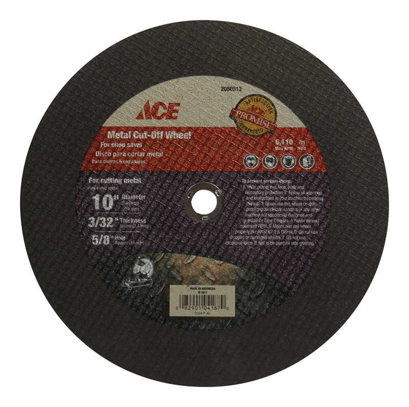 Ace  10 in. Metal/Steel  Metal Cut-Off Blade  0.09 in. thick  x 5/8 in.  1 pc.