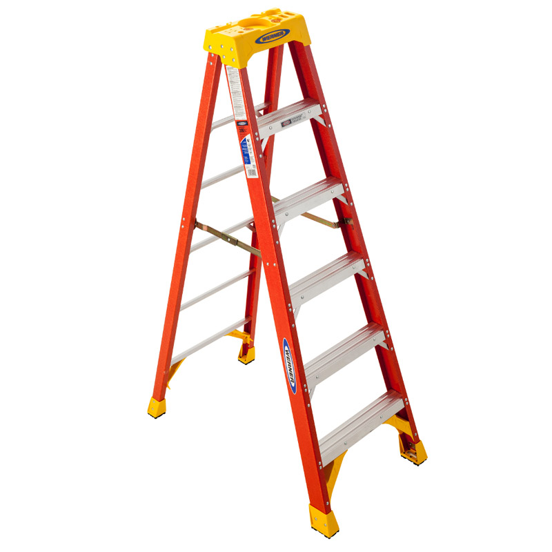 Werner  6 ft. H x 23.38 in. W Fiberglass  Type IA  300 lb. Step Ladder